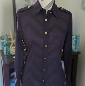 Tory Burch military style Navy button down blouse